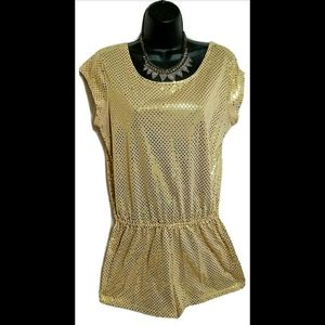 VTG Marilyn Monroe Gold Sequin Romper Jumper Sz M